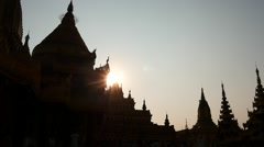 Shwezigon Pagoda of Bagan in Myanmar silhouette at sunset Stock Footage
