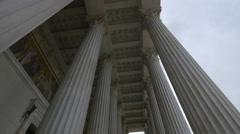 Low angle of the Austrian Parliament Building's columns, Vienna Stock Footage