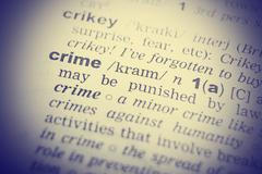 Stock Photo of Dictionary definition of the word Crime in English. Vignetting effect