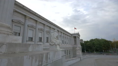 Marble statues in front of the Austrian Parliament Building, Vienna Stock Footage