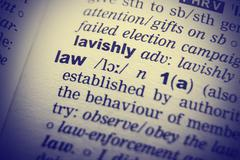 Dictionary definition of the word Law with vignetting effect Stock Photos