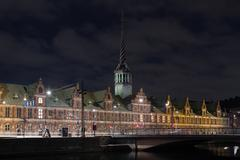 Stock Photo of Copenhagen Stock Exchange building by night