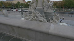 Pallas Athene Fountain seen from the Parliament Building in Vienna Stock Footage