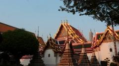 Vat Pho temple of Bangkok elements - dolly shot - stock footage