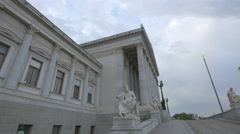 Statues in front of the Parliament Building in Vienna Stock Footage