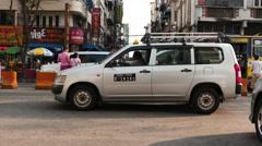 Cars motion on Streets of Yangon - Myanmar Stock Footage