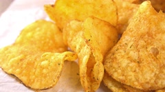 Portion of Potato Chips (not loopable) - stock footage