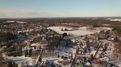 Aerial shot approaching the Kerimäki wooden church Stock Footage