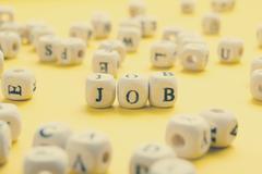 Job word written on wood block. Wooden Abc - stock photo