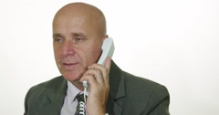 Pan View Image Company Manager Talk Business Use Telephone Inside Office Room Stock Footage