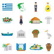 Flat Icon Set Greece Piirros