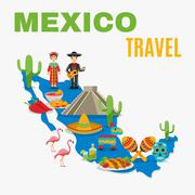 Map Mexico Background - stock illustration
