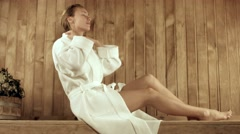 Rest of a young woman in the spa complex in the sauna Stock Footage