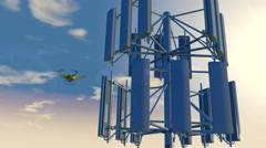 Drone inspecting a cellular phone tower, 3D animation - stock footage