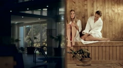 Three girlfriends steamed in a wooden sauna Stock Footage