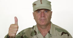 Soldier Portrait Confident Thumbs Up Hand Gesture Military Person Presentation - stock footage