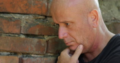 Bald Person Looking Down Upset Emotional Human Depressed Attitude Unhappy Man Stock Footage