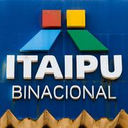 Itaipu Binacional Logo at Entrance of Itaipu Dam in Foz do Iguacu, Brazil - stock photo
