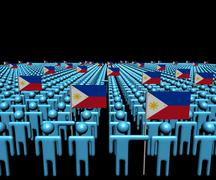 Crowd of abstract people with many Philippines flags illustration Stock Illustration
