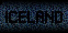 Iceland text on hex code illustration - stock illustration