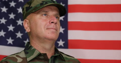 Guard Regiment Soldier Looking Proud Staying Stood Position Honoring USA Flag Stock Footage