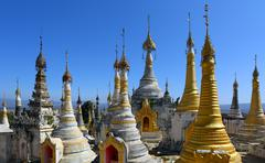 Shwe Inn Thein Paya temple complex in Myanmar - stock photo
