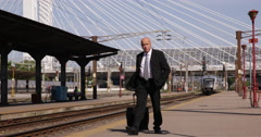 Commuter Businessman Lose Train Travel Leave Railway Platform Carrying Luggage Stock Footage