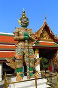 Demon in Wat Phra Kaew in Bangkok - stock photo