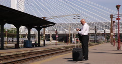 Railway Station Businessman Wait Train Travel Mobile Talking Financial Affairs Stock Footage