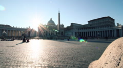 golden sunset in saint peter square, dolly camera - stock footage