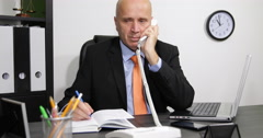 Sales Manager Interior Office Room Phone Talking Writing Agenda Appointments Stock Footage