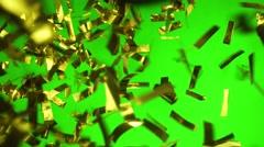 Golden Confetti falling down Stock Footage