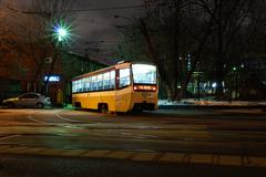 Moscow night tram returns to the depot Stock Photos