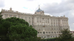 Royal Palace and Sabatini gardens in Madrid, Spain Stock Footage