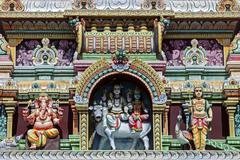 Detail Hindu temple decorated with gods at Curepipe Mauritius Africa - stock photo