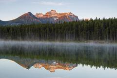 The Bow Range reflected in Herbert Lake at dawn Banff National Park Canadian - stock photo
