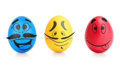 Concept of Easter egg with emotions faces isolated Stock Illustration
