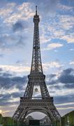 Sunset behind the Eiffel Tower Champ de Mars Paris IledeFrance France Europe Stock Photos