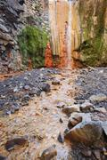 Cascada de las Colores waterfalls Parque Nacional de la Caldera de Taburiente - stock photo