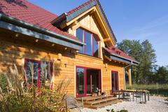 Stock Photo of Modern log house made of larch with terrace Wustermark Brandenburg Germany