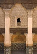 Stock Photo of Columned arcades in the central courtyard of the Ben Youssef Medersa Marrakesh