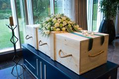 Coffin in crematory - stock photo