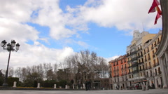 People walking near a Plaza Oriente and Theatro Royal in Madrid Stock Footage