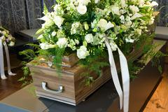 Coffin in morgue - stock photo