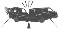 car accident on the road, cars crash - stock illustration