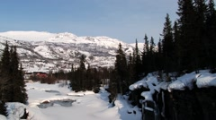 View to the forest and mountains in Hemsedal, Norway. Stock Footage