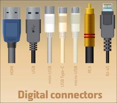 Stock Illustration of Set of digital connectors