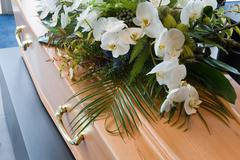 Coffin in morque - stock photo