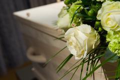 Coffin in morque Stock Photos
