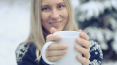 Woman with cup stay outdoor at winter Stock Footage
